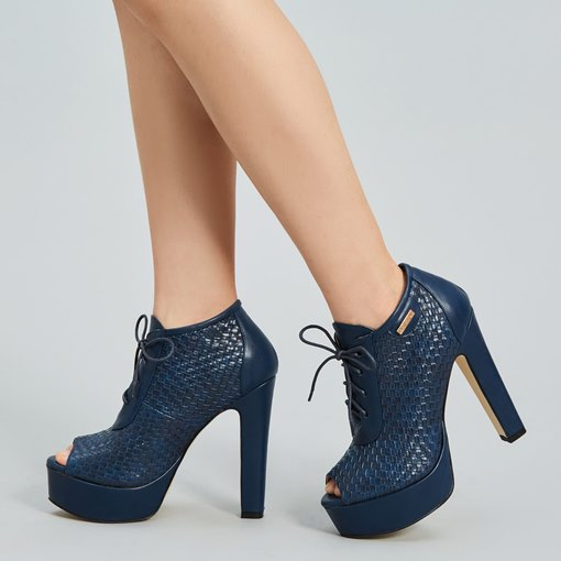 Peep Toe Lace-Up Front Ankle Women's Boots