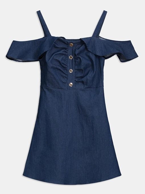 Blue Strappy Single-Breasted Women's Day Dress