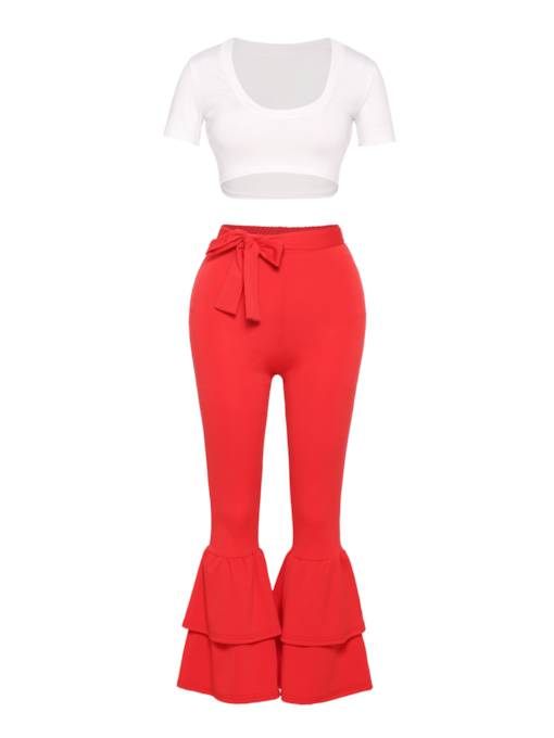 Short Sleeve Top and Bellbottom Pants Women's Two Piece Set