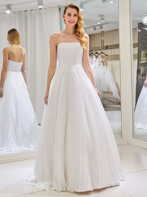 Strapless Pleats Beach Wedding Dress 2019