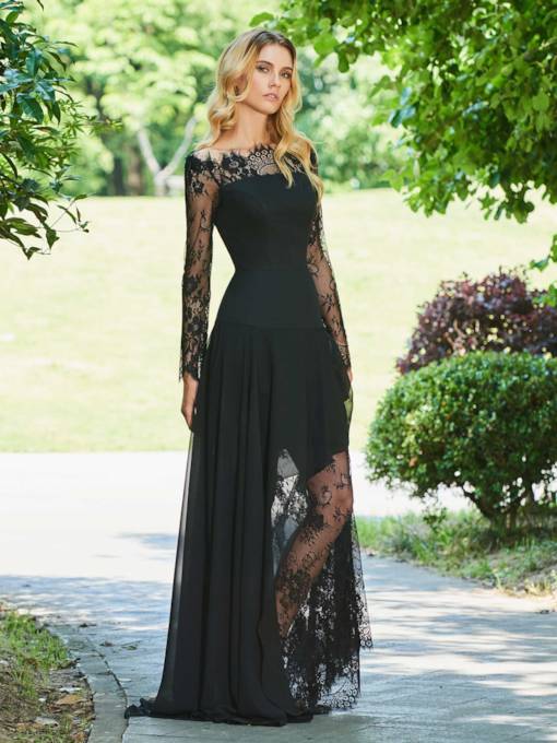 A-Line Off-the-Shoulder Lace Long Sleeves Evening Dress
