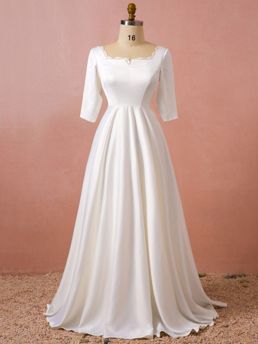 Square Neckline Half Sleeve Plus Size Wedding Dress