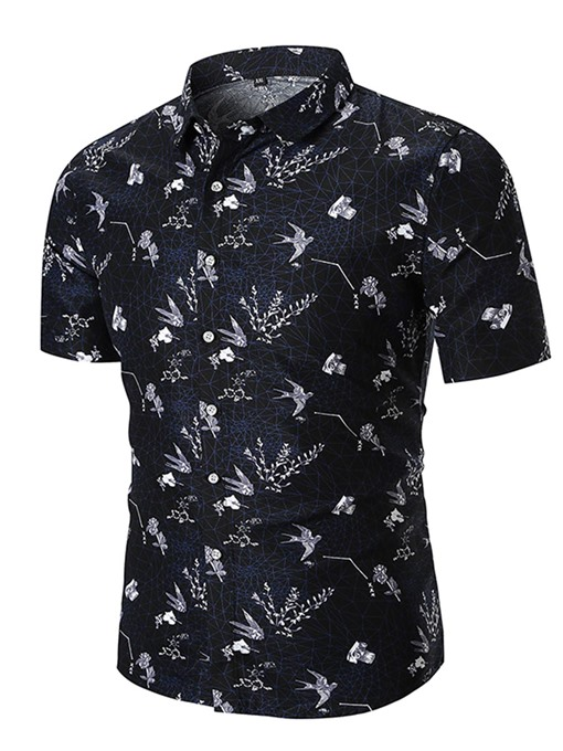 Lapel Bird Print Loose Men's Shirt