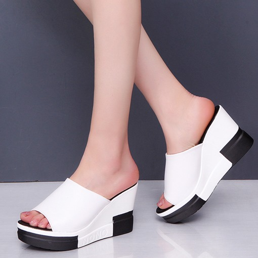 Wedge Heel Color Block Slip-On Women's Slipper