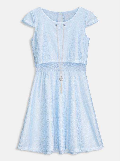 Blue Cap Sleeve Hollow Women's Lace Dress