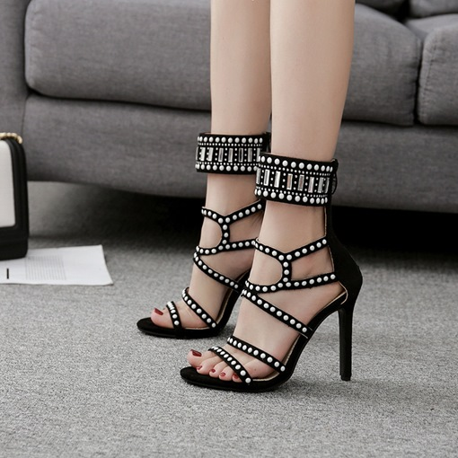 Beads High-Cut Upper Zipper Summer Sandals for Women