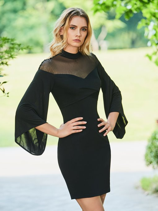 High Neck Column Long Sleeves Button Cocktail Dress