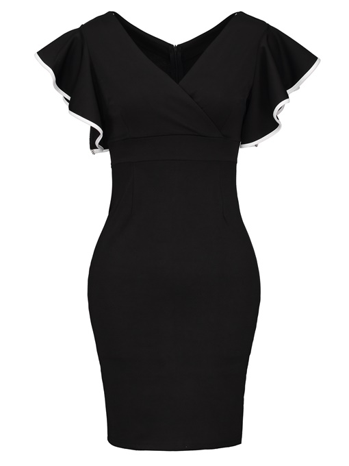 Black Cap Sleeve V Neck High-Waist Bodycon Dress