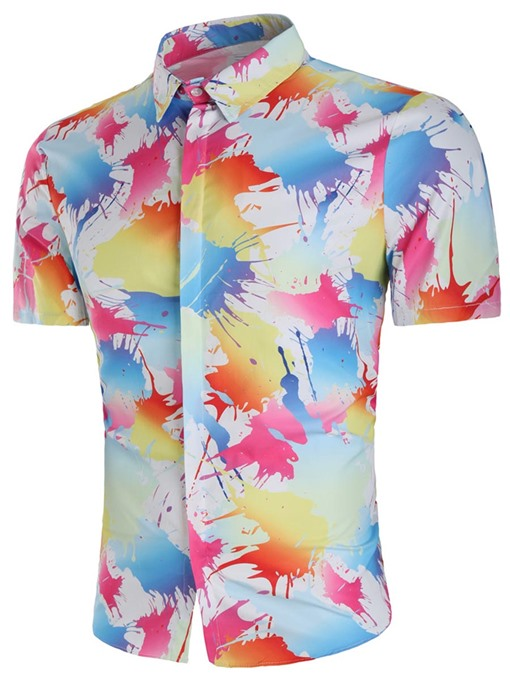 Lapel Splash-Ink Print Men's Shirt