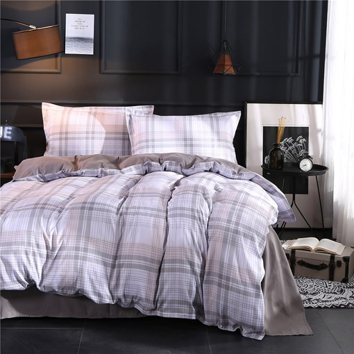 Grey Stripes and Checked Printing Polyester 4-Piece Bedding Sets/Duvet Cover