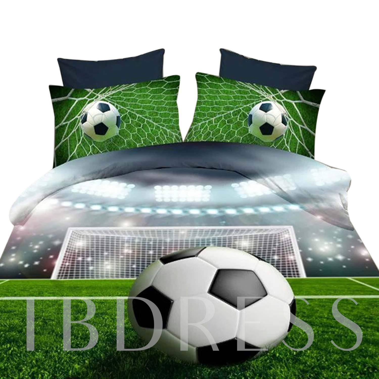 Soccer Ball On Field Print 4 Pieces Polyester 3D Bedding Sets