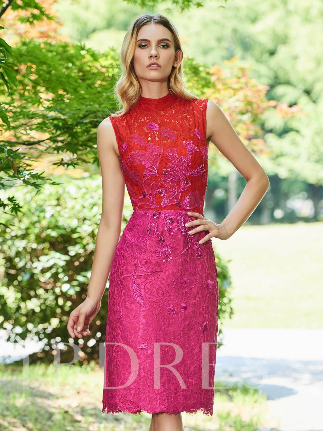 Sheath Beading High Neck Button Cocktail Dress