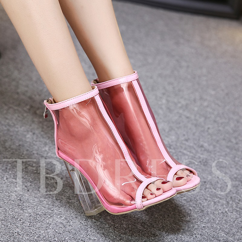 See-Through Zipper High-Cut Upper Peep Toe Sandals for Women