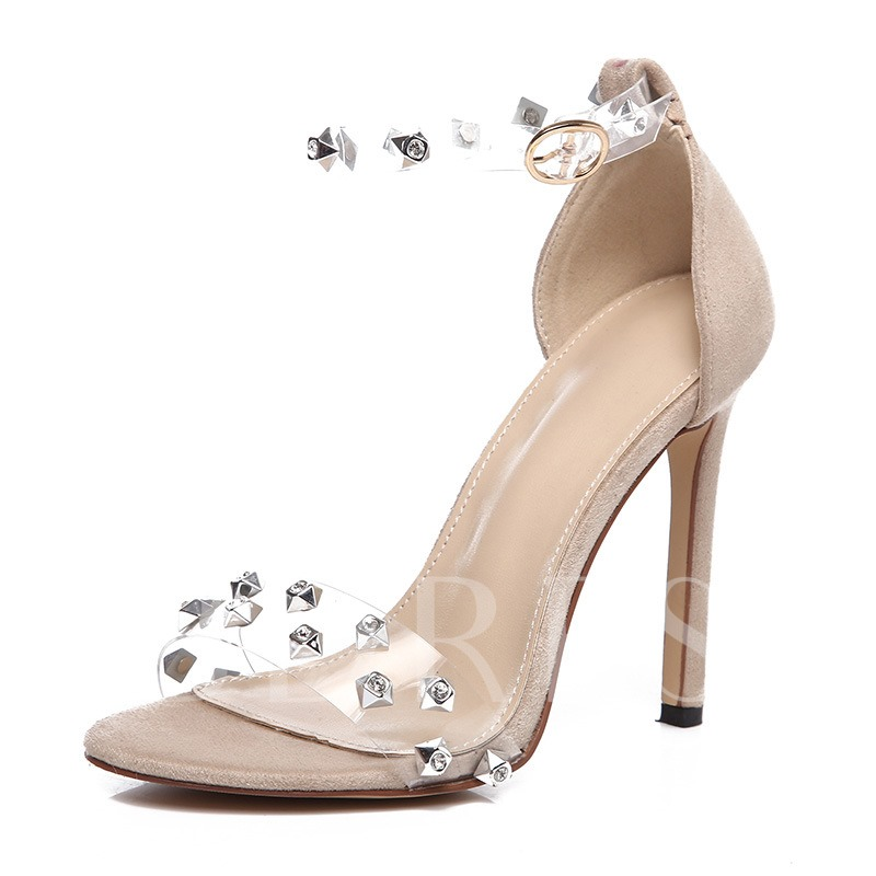 Rhinestone Stiletto Heel Ankle Strap PVC Clear Jelly Sandals for Women