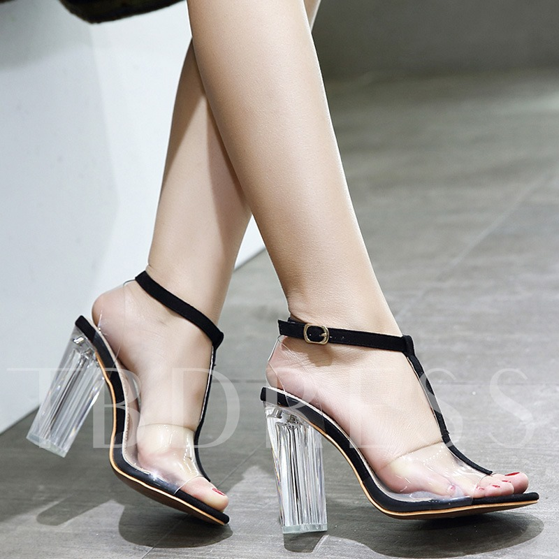 Pellucid Chunky Heel T-bar Strappy Clear Jelly Women's Sandals