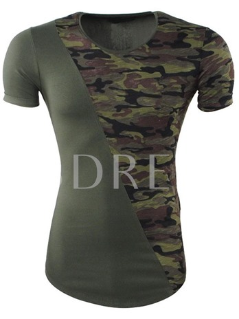 Camouflage Patchwork Thin Men's T-Shirt