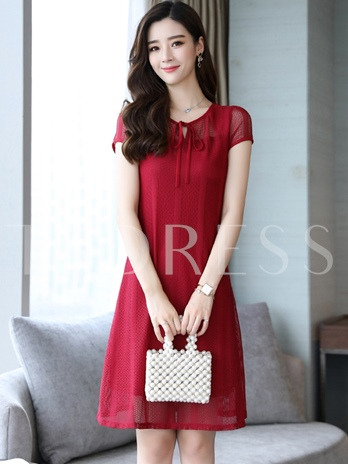 Cap Sleeve Tie Neck Women's Day Dress