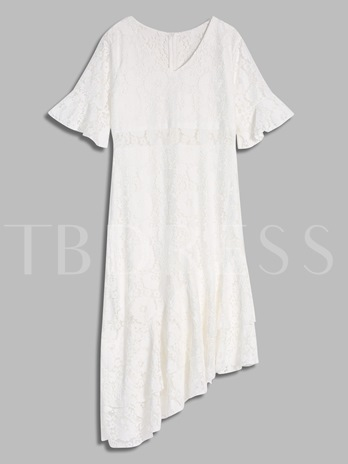 White Half Sleeve Women's Lace Dress