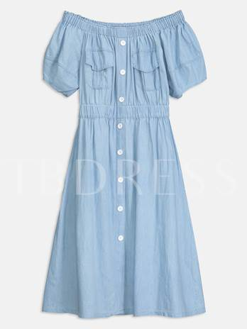 Summer Off Shoulder Latern Sleeve A Line Day Dress