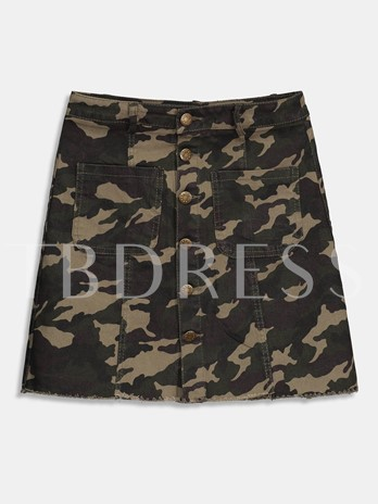 Button Up Camouflage Raw Hem Women's Skirt