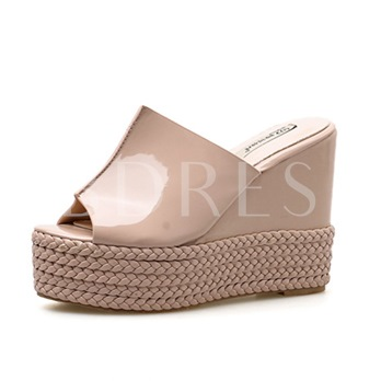 Wedge Heel Summer Straw Braid Platform Women's Flip Flop