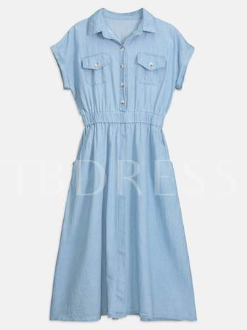 Short Sleeve Belt Waist A Line Day Dress