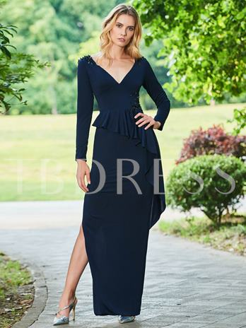 Sheath Beading Ruffles V-Neck Evening Dress