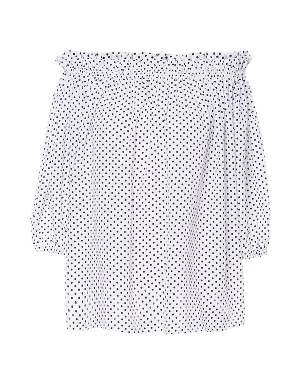 Buy Polka Dots Off Shoulder Women's Blouse, Spring,Fall, 13301309 for $11.03 in TBDress store