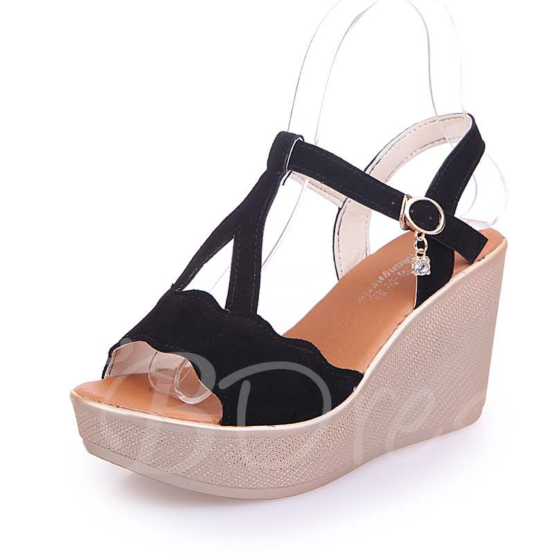 Buy Strappy Wedge Heel T-Shaped Buckle Summer Sandals for Women, Spring,Summer, 13303155 for $30.58 in TBDress store