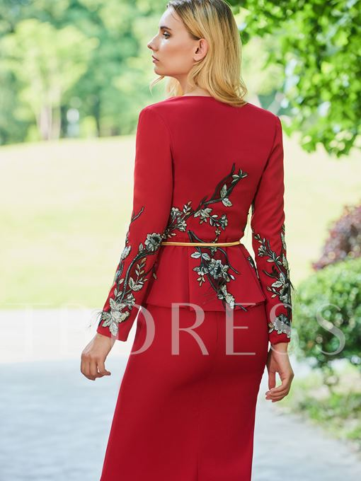 Embroidery Appliques Mother of the Bride Dress with Long Sleeve