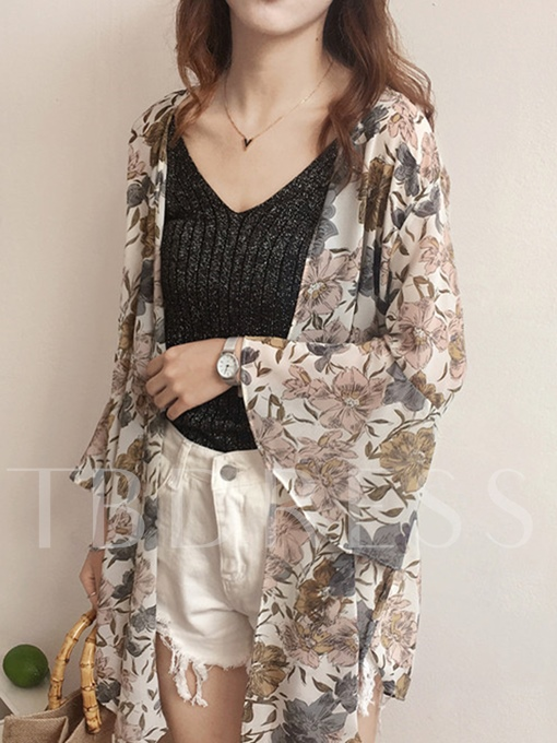 Flare Sleeve Floral Tie Front Women's Sunscreen Outerwear