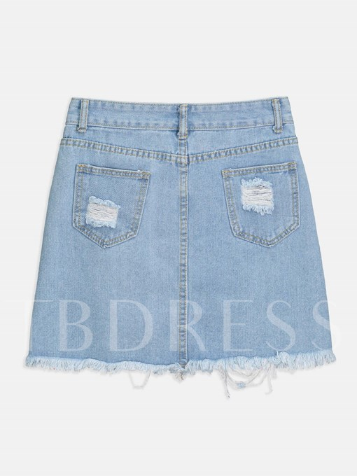 Ripped Front Embroidery Raw Hem Women's Skirt