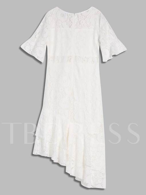 White Half Sleeve V-Neck Women's Lace Dress