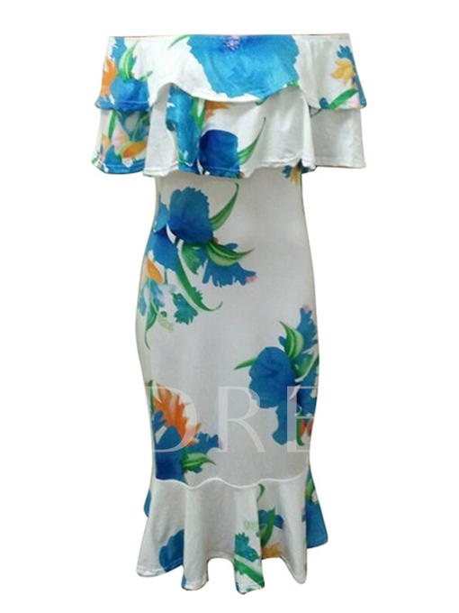 White Printing Off Shoulder Women's Party Dress