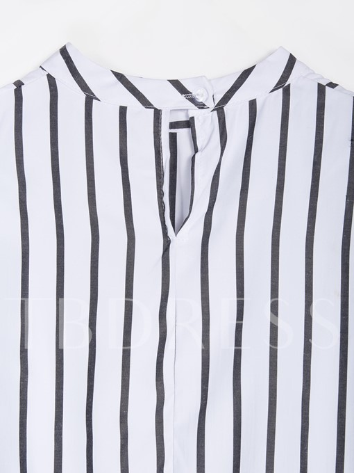 Slim Fit Stand Collar Stripe Women's Blouse