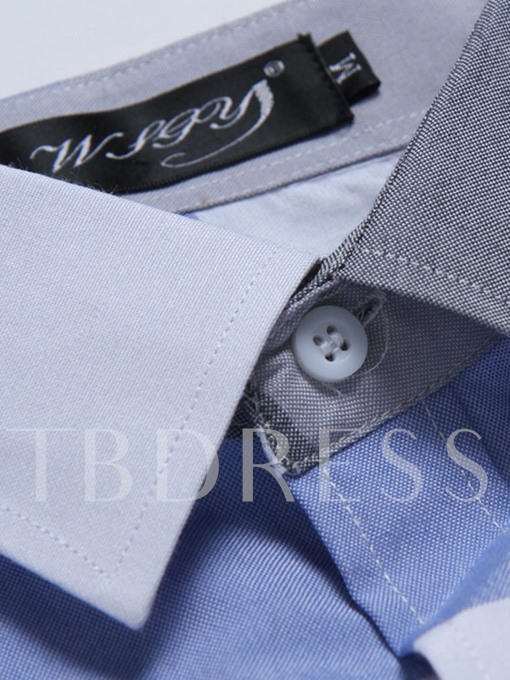 Daily Work Cotton Polyester Slim Men's Shirt