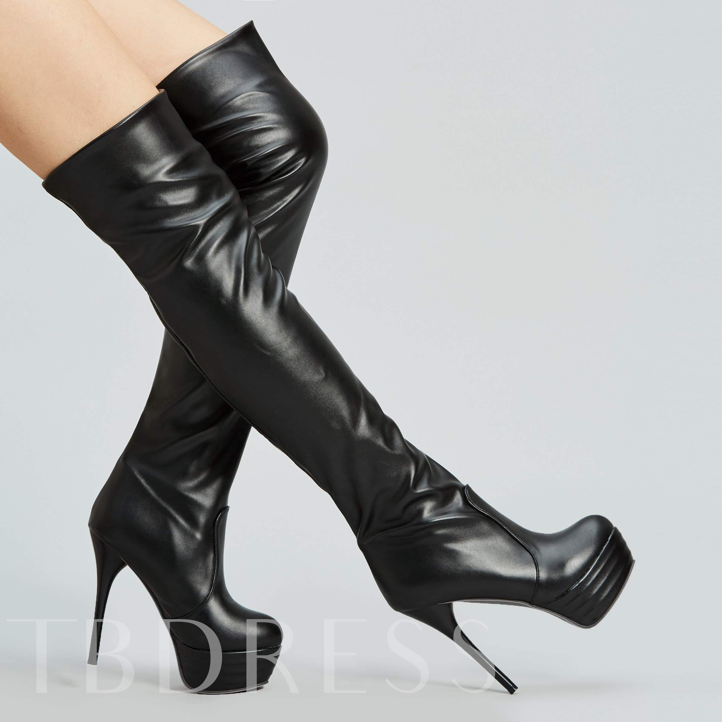 Stiletto Heel Slip-On Round Toe Over-the-Knee Platform Women's Boots