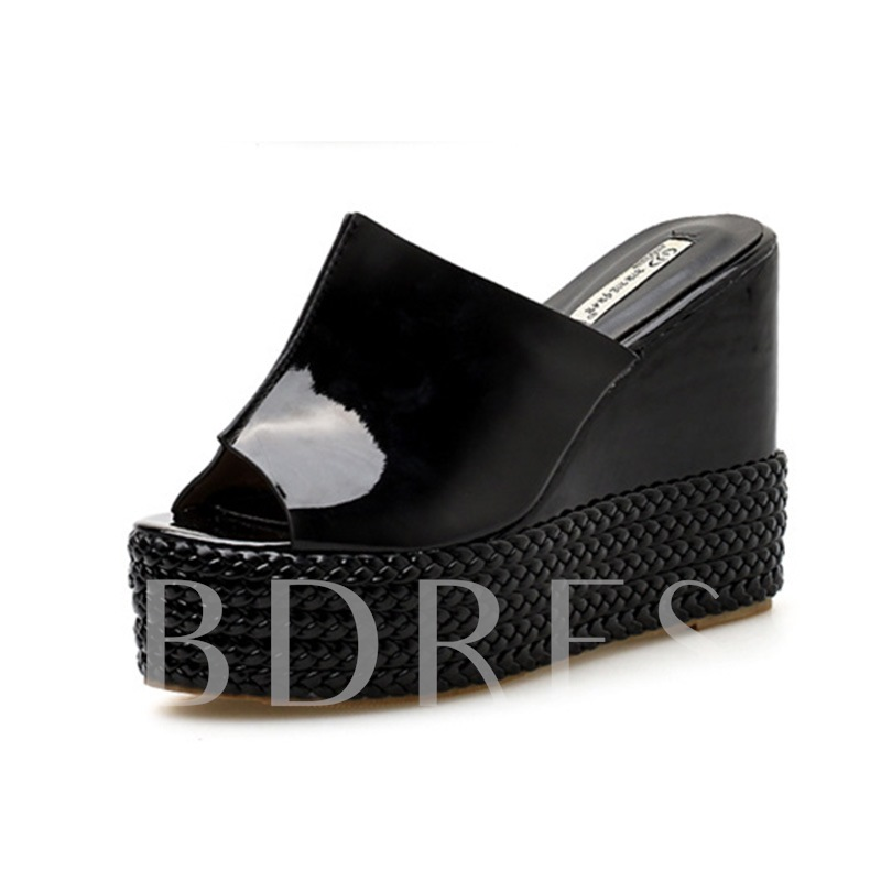 Buy Wedge Heel Summer Straw Braid Platform Women's Flip Flop, Spring,Summer, 13300733 for $56.41 in TBDress store