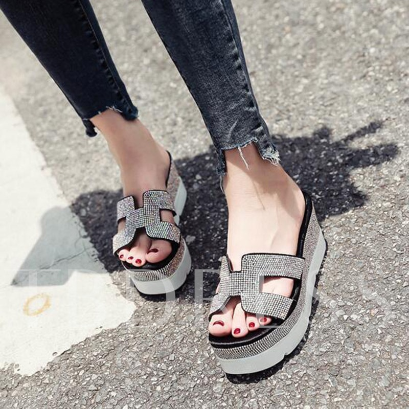 Buy Rhinestone Platform Summer Flip Flop for Women, Spring,Summer, 13303176 for $40.71 in TBDress store