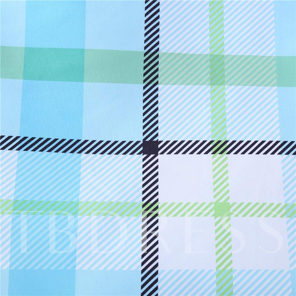 Blue Stripes and Checked Pattern Polyester 4-Piece Bedding Sets/Duvet Cover