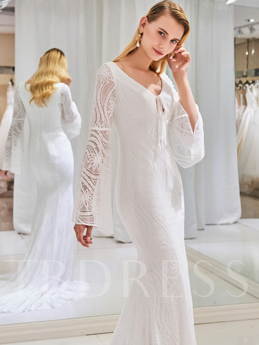 V-Neck Mermaid Lace Wedding Dress with Long Sleeve