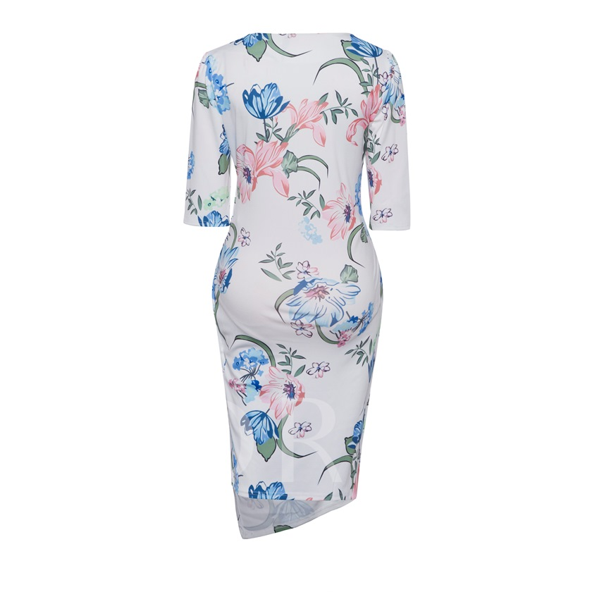White Printing V Neck Women's Sheath Dress