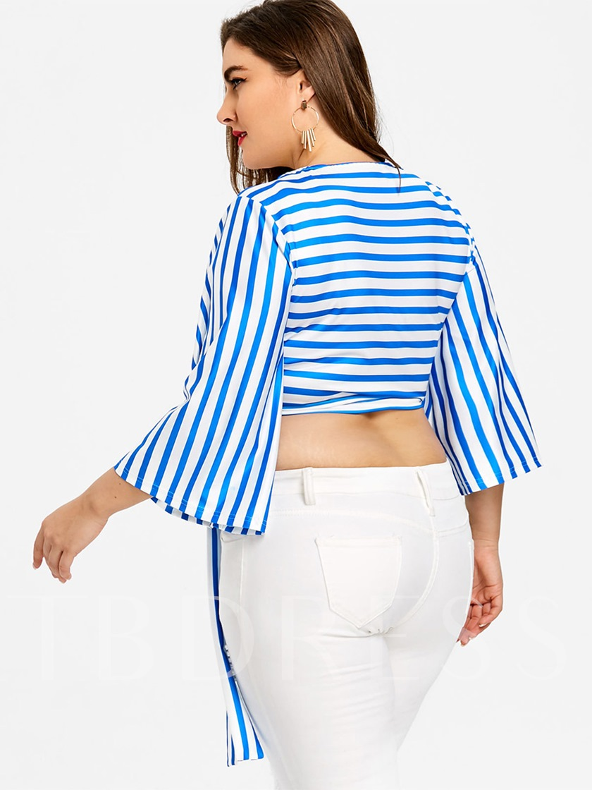 Plus Szie Wrapped Lace Up Stripe Bell Sleeve Women's Blouse