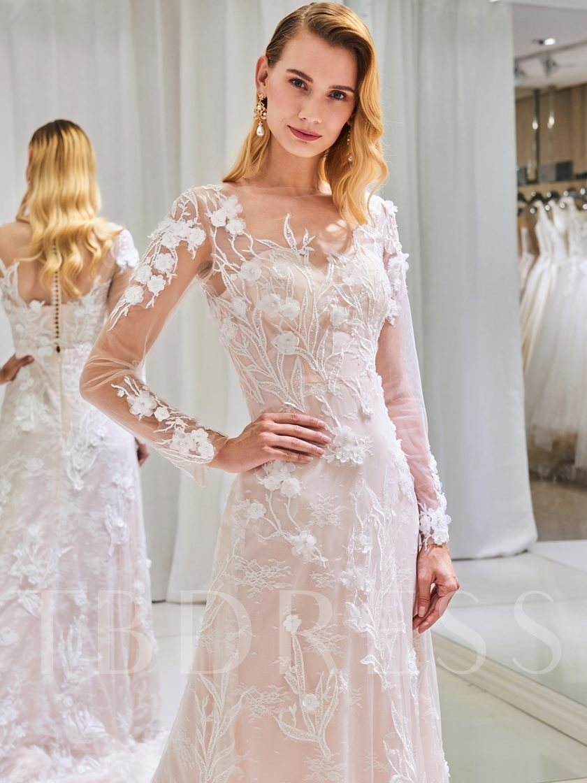 Sheer Neck Appliques Wedding Dress with Long Sleeve