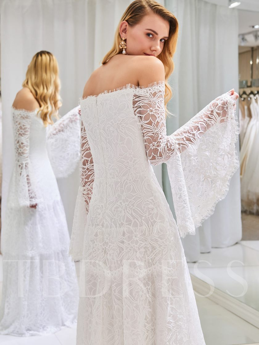 Off the Shoulder Lace Wedding Dress with Long Sleeve
