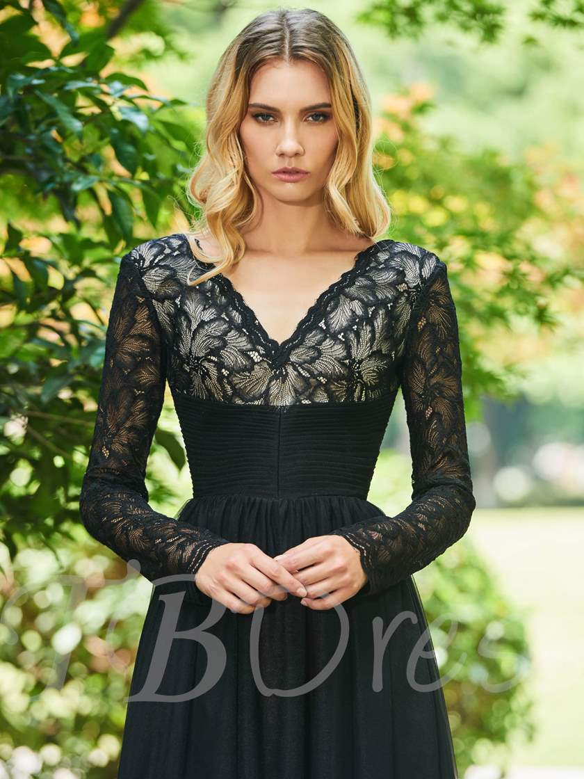 A-Line V-Neck Draped Lace Sashes Evening Dress