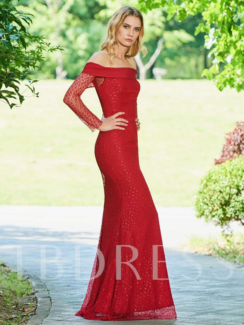 Off the Shoulder Long Sleeve Red Lace Evening Dress