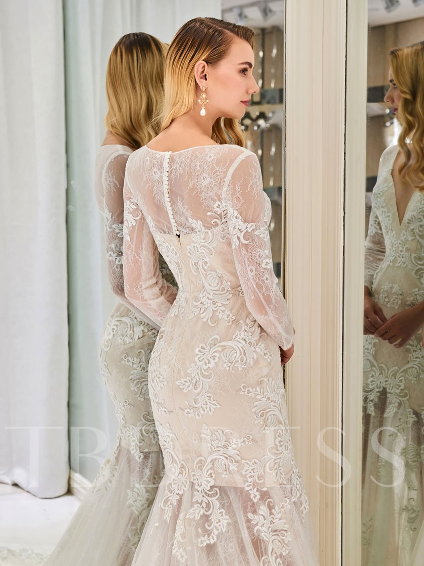 V-Neck Lace Appliques Long Sleeve Wedding Dress