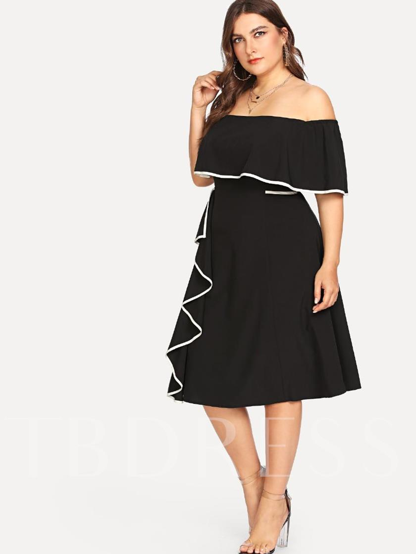 29465d4a3d Plus Size Off Shoulder Asymmetric Women's Day Dress - Tbdress.com