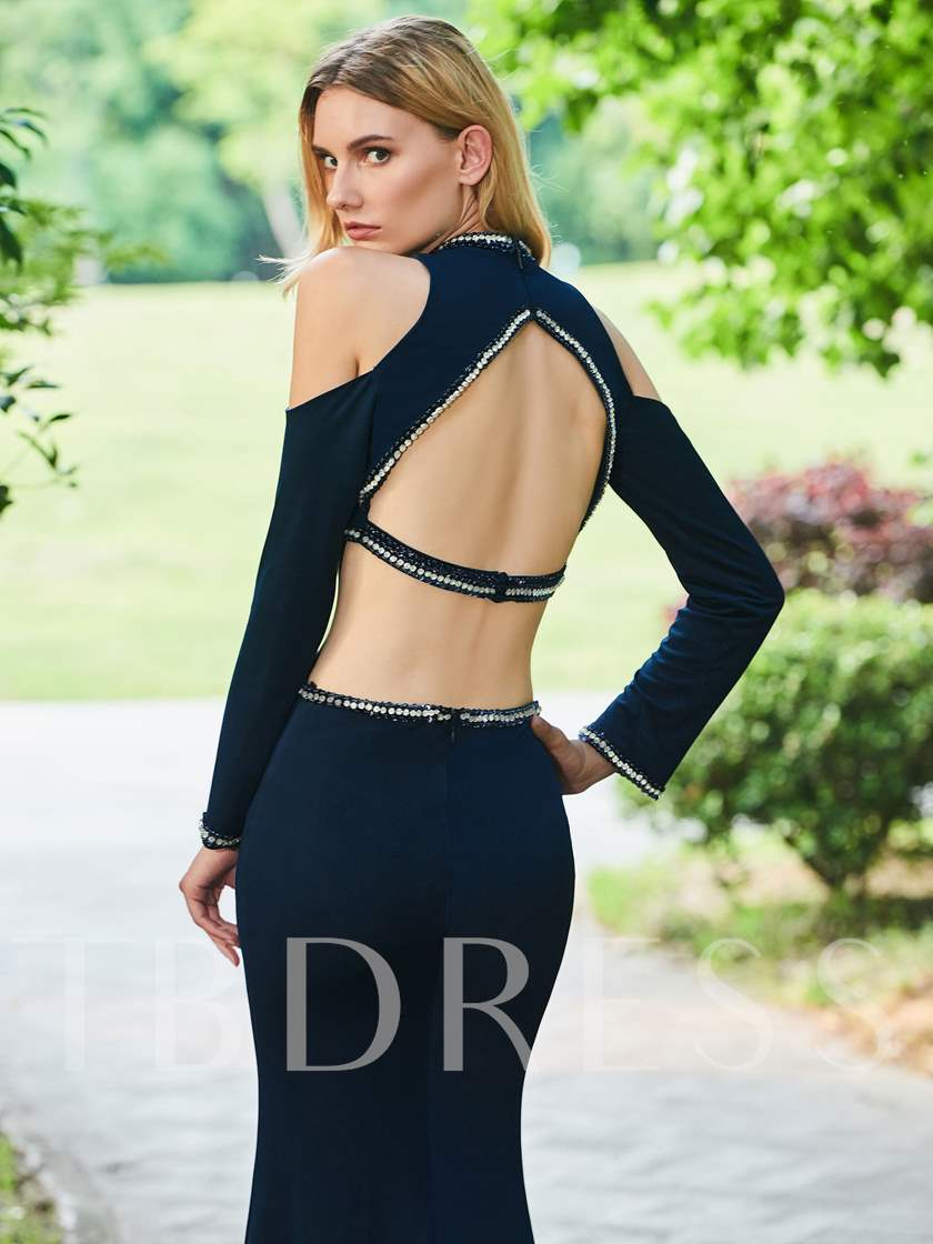 Jewel Mermaid Backless Beading Evening Dress